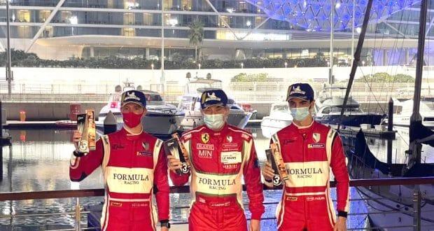SC Erregi Media Nielsen Laursen e Rovera podium Ferrari488 AbuDhabi4Hours 620x330